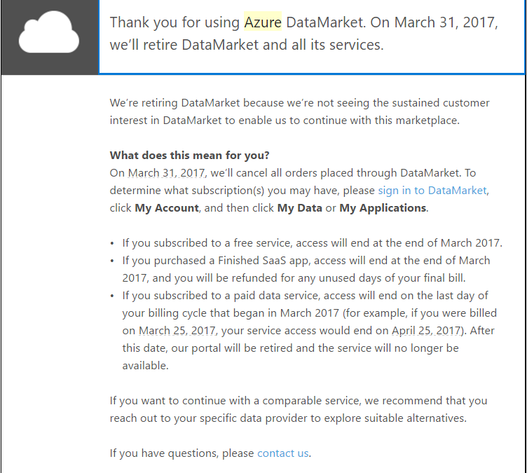 Azure DataMarket shutdown